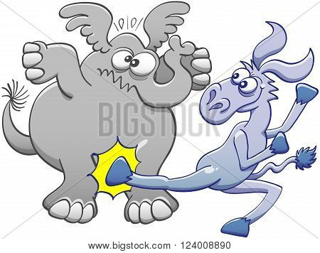 Mischievous donkey doing a violent back kick to hit the pelvis of a chubby elephant. The elephant expresses its pain by crossing its eyes, raising its ears and clenching its mouth