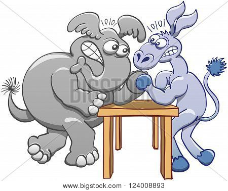 Aggressive donkey and elephant posing their elbows on a small table, staring at each other, clenching their teeth and confronting their strength by practicing arm wrestling