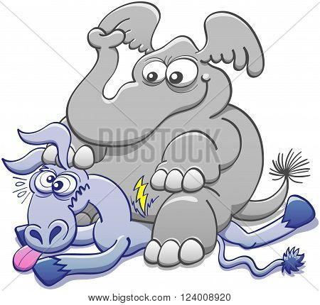 Mischievous elephant having pleasure at sitting on a donkey and crushing it. The donkey expresses its pain by crossing its eyes, sticking its tongue out and showing a lightning bolt