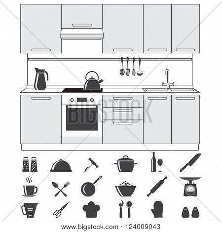 Kitchen and cooking icons set and Kitchen interior, isolated on white background. Vector illustration.