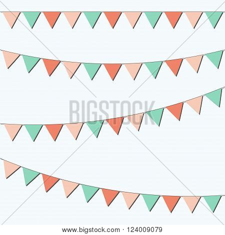 Bunting and garland set. Colorful festive flags. Vector illustration. Elements for celebrating, party or festival design.