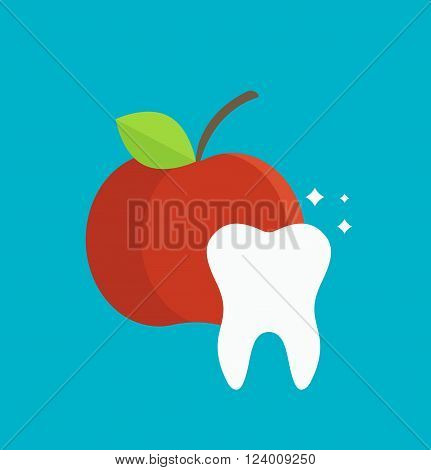 Tooth care vector illustration. Dental and tooth care infographics element. Tooth care hygiene. Health medicine tooth care. Dental clinic vector icon teeth with red apple.