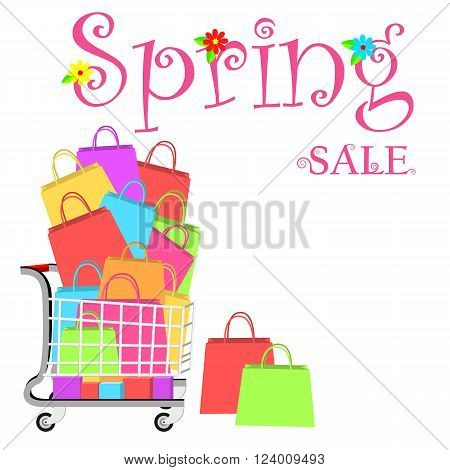 Spring sale marketing template with shopping trolley and shopping bags