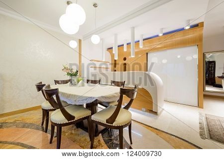 Dining area in modern apartment in luxury apartment ** Note: Visible grain at 100%, best at smaller sizes