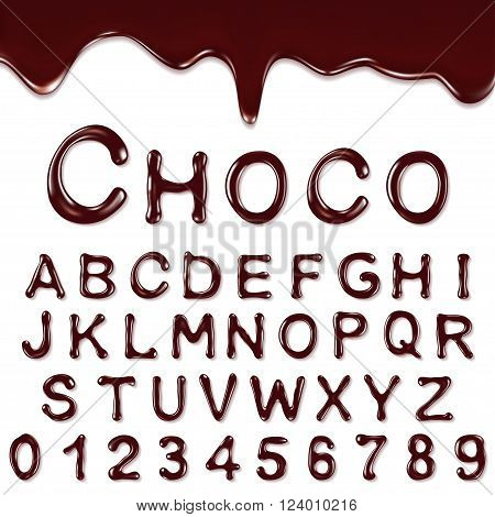 Chocolate Alphabet With Numbers isolated on a white background