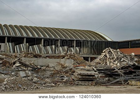 Broken Factory Demolition Collapsed Building Rubble Construction Waste