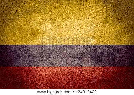flag of Colombia or Colombian banner on rough pattern background