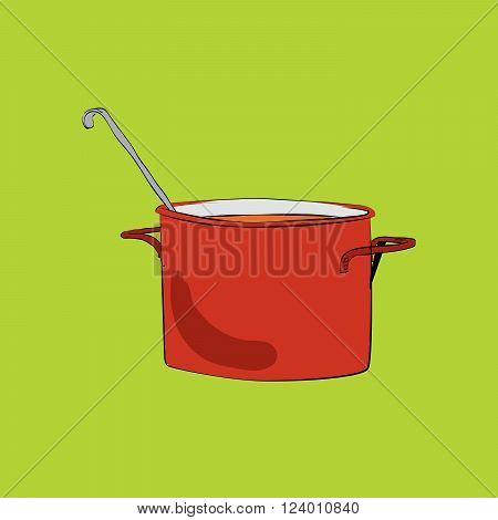 Pot with ladle vector illustration. The red pot. Vector utensils in the kitchen. Soup and cooking