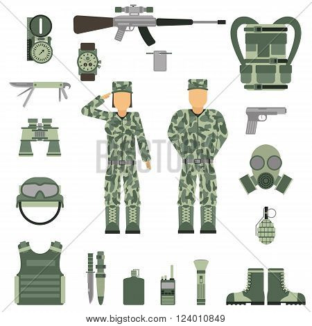 Military symbols vector illustration. Military people set. Set of military and army forces woman and man. Military symbols design. Military symbols with weapon and people uniform.