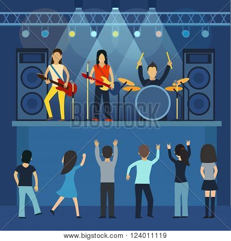 Rock concert vector, guitar and musician, musical instrument, sound and performance, stage and guitarist. Rock concert flat vector illustration. Rock concert singing and dancing, young people