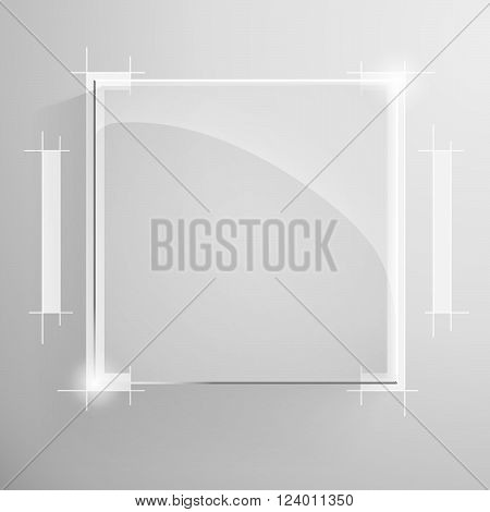 Vector glossy square banner with white technical lines drawing services on the monochrome background.