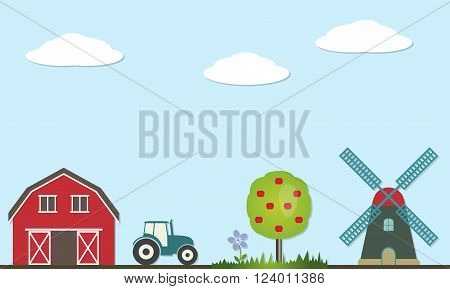 Farm landscape illustration. Agriculture and nature vector icons and symbols: barn house, tractor, windmill, tree, grass, flower, clouds and sky. Flat design.