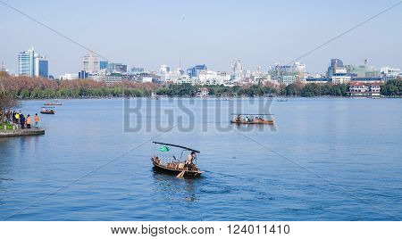 Chinese Recreation Boats On The West Lake
