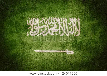 flag of Saudi Arabia or Saudi Arabian banner on rough pattern background