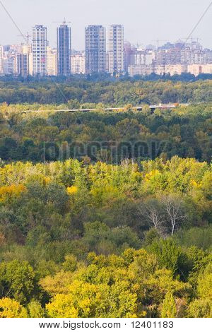 big Kyiv city panorama- aerial view