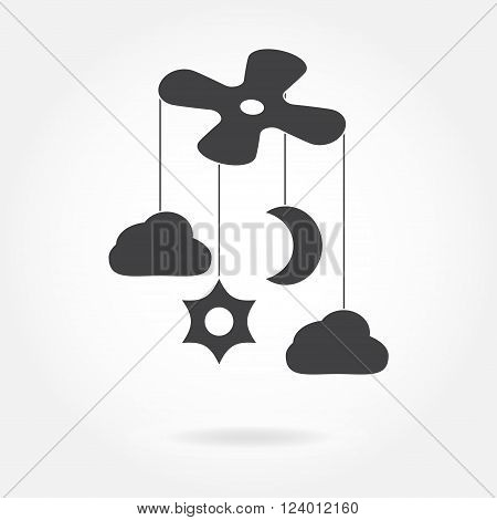 Baby bed carousel or crib mobile toy icon. Vector illustration.