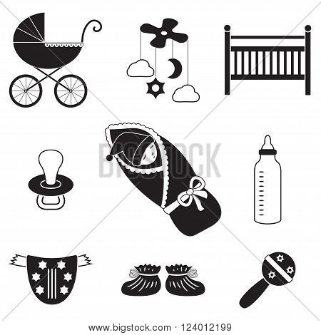 Baby icons set. Newborn, child toys, pram, carriage, soother, cradle. Vector illustration.
