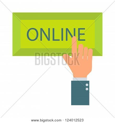 Online button vector illustration. Online button isolated on white background. Online button vector icon illustration. Online button isolated vector. Online button silhouette