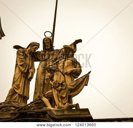 Religious statue on the cathedral San Francisco