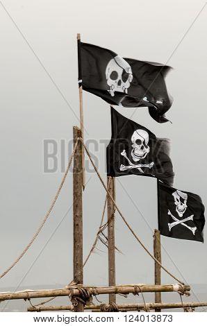 Skull and cross bones flag flying on a mast