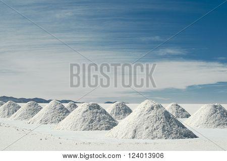 Drying salt piles at Salar de Uyuni, Bolivia
