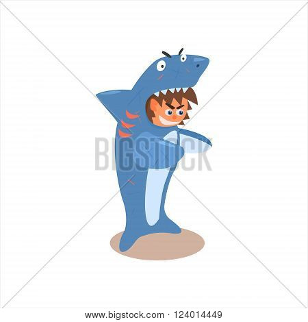 Boy Desguised As Shark Flat Isolated Vector Image In Cartoon Style On White Background