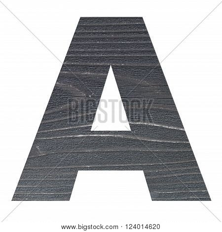 English alphabet letters with wood texture photo isolated on white background