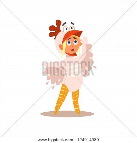 Girl Desguised As Rooster Flat Isolated Vector Image In Cartoon Style On White Background