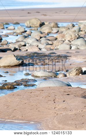 Water flowing over sand on the beach to the sea