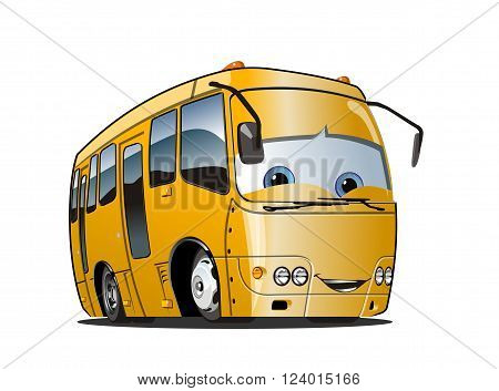 Cartoon School Bus isolated on white background. Available EPS-10 vector format separated by groups and layers for easy edit