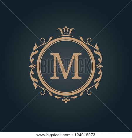 Elegant floral monogram design template for one or two letters . Wedding monogram. Calligraphic elegant ornament. Business sign, monogram identity for restaurant, boutique, hotel, heraldic, jewelry.