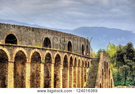 View of the Pompeii Amphitheatre in Italy