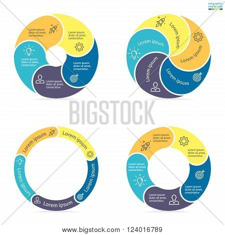 Circular infographics step by step with rounded colored sections. Set of flat pie charts. Chart, diagram with 5 steps, options, parts, processes. Vector circle template in blue and yellow.