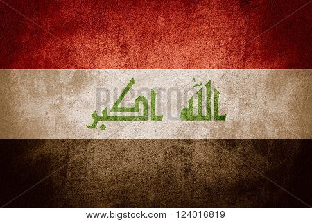 flag of Iraq or Iraqi banner on rough pattern background