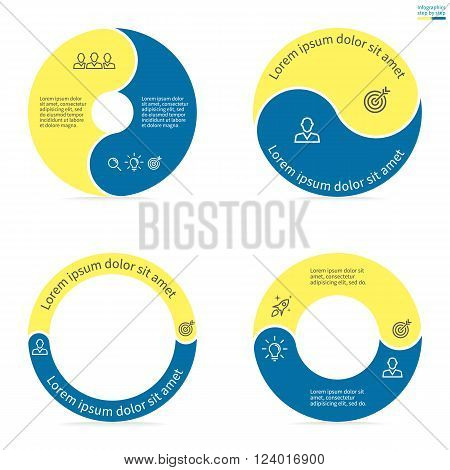 Circular infographics step by step with rounded colored sections. Set of flat pie charts. Chart, diagram with 2 steps, options, parts, processes. Vector circle template in blue and yellow.