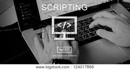 Scripting Coding Data Development Internet Concept