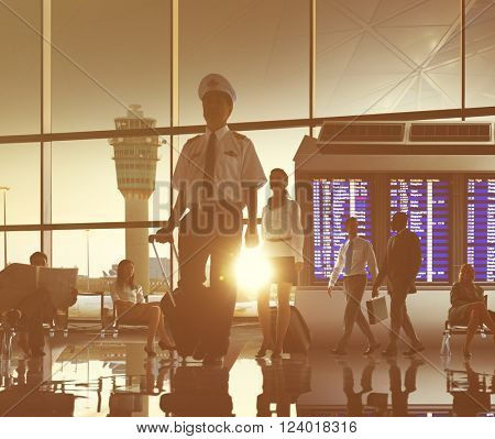 Pilot Flight Attendant Airport Trip Concept