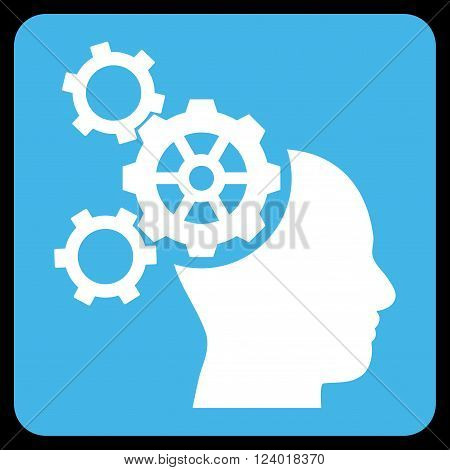 Brain Mechanics vector pictogram. Image style is bicolor flat brain mechanics icon symbol drawn on a rounded square with blue and white colors.