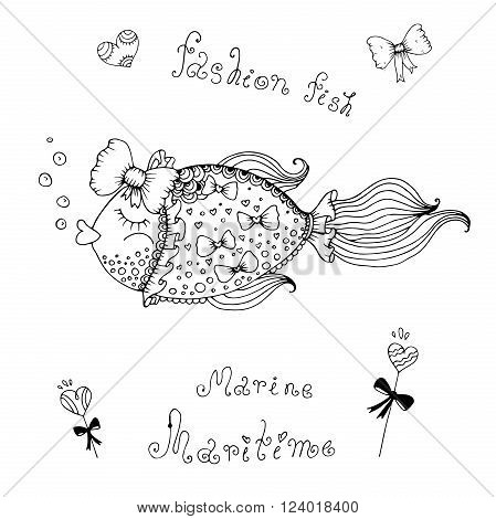 Vector illustration fashion fish with a bow.  Original hand drawn phrase fashion fish, maritime, marine. Painted on a white background