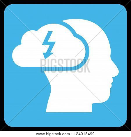 Brainstorming vector symbol. Image style is bicolor flat brainstorming icon symbol drawn on a rounded square with blue and white colors.