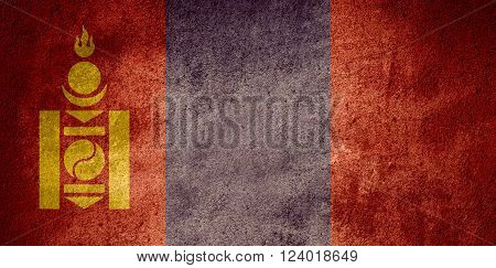 flag of Mongolia or Mongol banner on rough pattern background