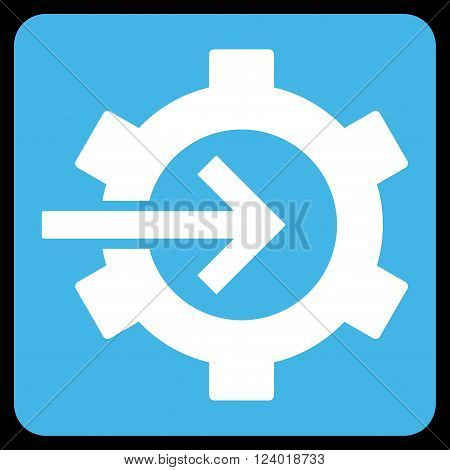 Cog Integration vector pictogram. Image style is bicolor flat cog integration iconic symbol drawn on a rounded square with blue and white colors.