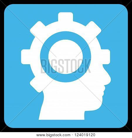 Cyborg Gear vector pictogram. Image style is bicolor flat cyborg gear pictogram symbol drawn on a rounded square with blue and white colors.