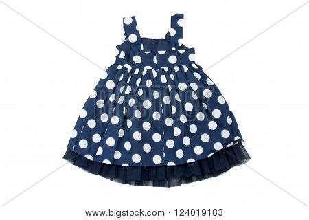 blue and white polka dot dress for litle girl isolated on white