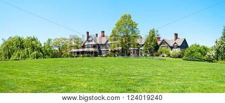 OAKDALE NEW YORK -MAY 4 - A panoramic view of the Manor House in Bayard Arboretum State Park in Oakdale on May 4 2010 in Long Island.