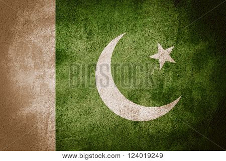 flag of Pakistan or Pakistani banner on rough pattern background
