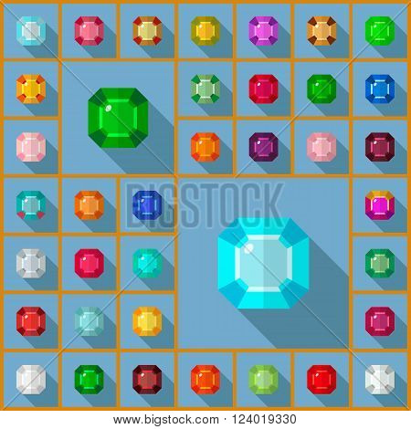 Vector gems icons set. Flat vector design with long shadow. Vector gems flat design.
