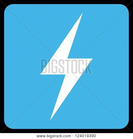 Electricity vector pictogram. Image style is bicolor flat electricity pictogram symbol drawn on a rounded square with blue and white colors.