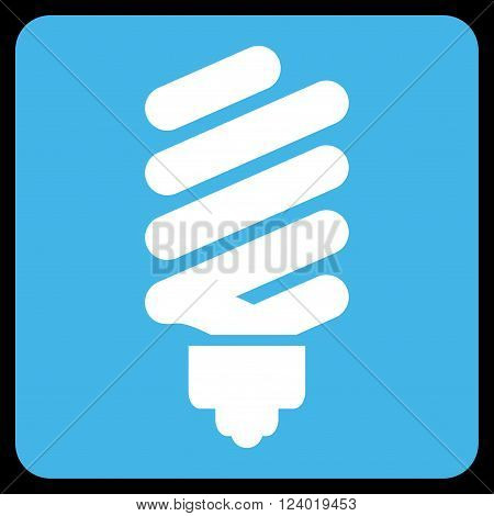 Fluorescent Bulb vector icon. Image style is bicolor flat fluorescent bulb pictogram symbol drawn on a rounded square with blue and white colors.