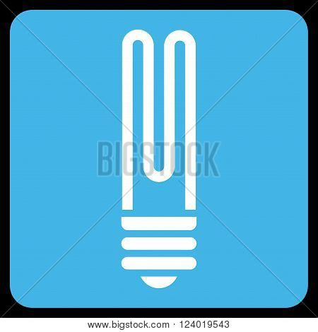 Fluorescent Bulb vector pictogram. Image style is bicolor flat fluorescent bulb iconic symbol drawn on a rounded square with blue and white colors.